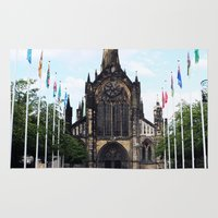 medieval Area & Throw Rugs featuring medieval glasgow by seb mcnulty
