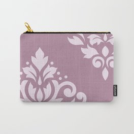 Scroll Damask Art I Pink on Mauve Carry-All Pouch