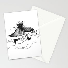 A Raven with a strict wife Stationery Cards