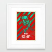 wolf of wall street Framed Art Prints featuring The Wolf Of Wall Street Alt by Messypandas