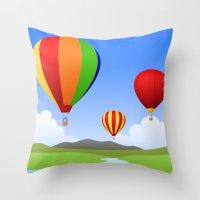 hot air balloons Throw Pillows featuring Hot Air Balloons by Henry Meadowlark