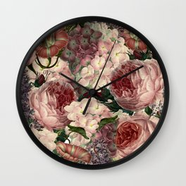 Vintage & Shabby Chic Pink Dark Floral Roses Lilacs Flowers Watercolor Pattern Wall Clock