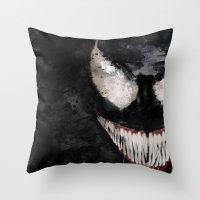 venom Throw Pillows featuring Venom by Scofield Designs