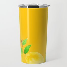 Lemons on Mustard Yellow Travel Mug