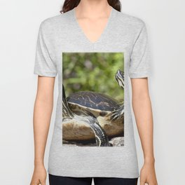 Watercolor Turtle, Eastern Painted Turtle 17, Merchants Millpond, North Carolina, Bumps on a Log Unisex V-Neck