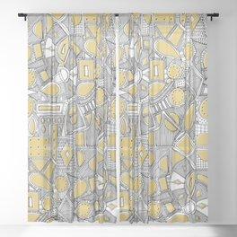 RAZZ BW STRAW Sheer Curtain