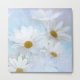 white daisies with text Metal Print