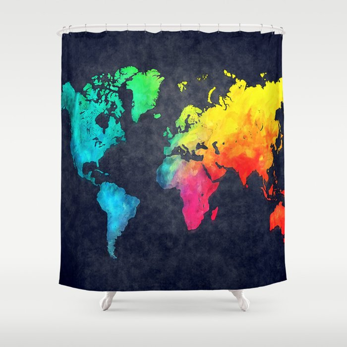 World map watercolor 6 Shower Curtain