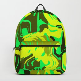 Cloudy flowing spots of calm colors with yellow. Backpack