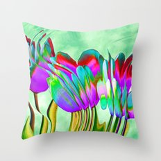 Tulips behind wavy glass Throw Pillow