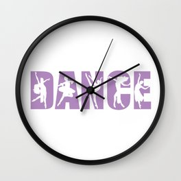Dance in Light Purple with Dancer Cutouts Wall Clock