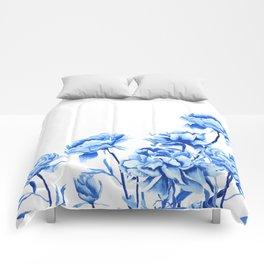 blue peonies 2 Comforters