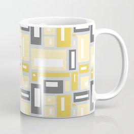 Simple Geometric Pattern in Yellow and Gray Coffee Mug