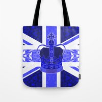 british flag Tote Bags featuring Royal Blue - British Flag & Crown by Ornaart