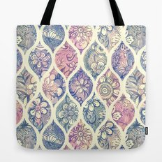 Patterned & Painted Floral Ogee in Vintage Tones Tote Bag