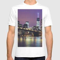 Manhattan Skyline over the Brooklyn Bridge at Night MEDIUM Mens Fitted Tee White