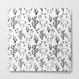 Llama Llamarama + Cactus 2 Metal Print