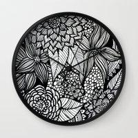 alisa burke Wall Clocks featuring doodles by Alisa Burke
