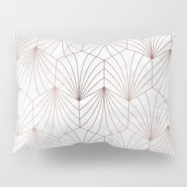 Hexagonal Leaves of Rose Gold on White Marble Pillow Sham