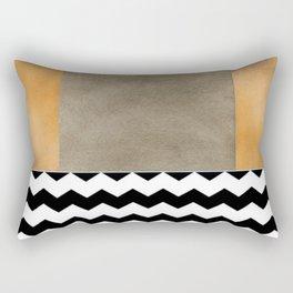 Shiny Copper Coffee Glaze And Black And White Chevron Pattern Rectangular Pillow