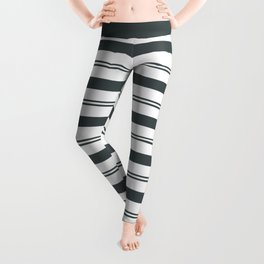 PPG Night Watch Pewter Green and White Stripes, Wide and Narrow Horizontal Line Pattern Leggings
