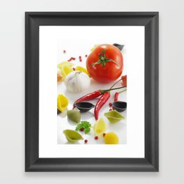 Pasta and their ingredients  Framed Art Print
