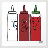 sriracha Art Prints featuring Mayo, BBQ, and Sriracha by Dee Bee Monster