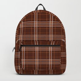 White And Brown Plaid Lumberjack Flannel Backpack