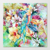 parrot Canvas Prints featuring PARROT by RIZA PEKER