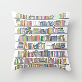 Colorful Bookcase Throw Pillow