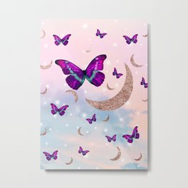 Pastel Cosmos Butterfly Moon Dream #1 #decor #art #society6 Metal Print