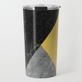 Black and White Marbles and Pantone Primrose Yellow Color Travel Mug