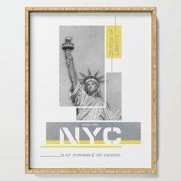 NYC Statue of Liberty | Illuminating Yellow & Ultimate Grey Serving Tray