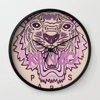 kenzo Wall Clocks featuring KENZO Tiger, pink  by cvrcak