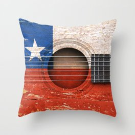 Old Vintage Acoustic Guitar with Chilean Flag Throw Pillow
