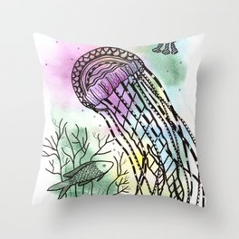 Jellyfish in watercolor and ink Throw Pillow