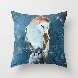 Winter Barn Owl Throw Pillow