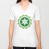 chakra V-neck T-shirts featuring Heart Chakra by Iron Elefante