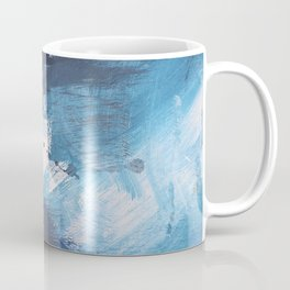 Ships in the Night: a vibrant abstract mixed-media piece in blues and golds by Alyssa Hamilton Art Coffee Mug
