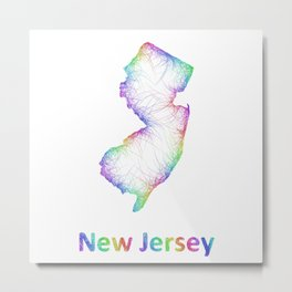 Rainbow New Jersey map Metal Print
