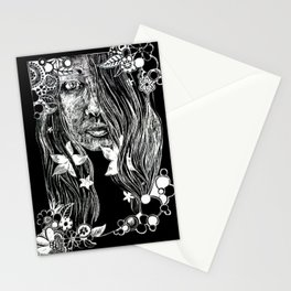 Black and White Flower Girl Line Cut Stationery Cards