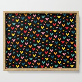 Happy Hearts on Black Serving Tray