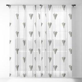 Origami Fox Grey Digital Pattern Sheer Curtain