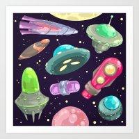 funny UFO Art Print