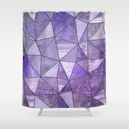 Purple Lilac Glamour Shiny Shimmering Patchwork Shower Curtain