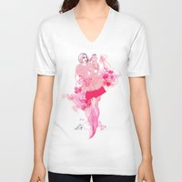 lily V-neck T-shirts featuring Lily by Anne Cresci
