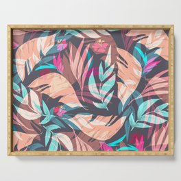 Tropical Exotic Flowers Hand Drawn Style Serving Tray
