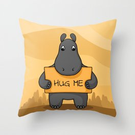 """Cute hand drawn Hippo with sign """"Hug me"""" Throw Pillow"""