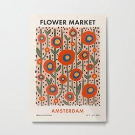 Flower Market Amsterdam, Abstract Modern Floral Print Metal Print
