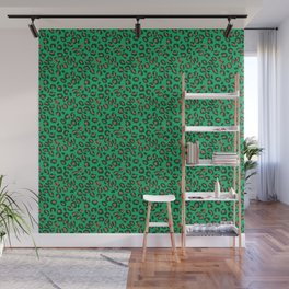 Greenery Green and Beige Leopard Spotted Animal Print Pattern Wall Mural